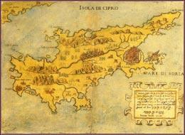 Cyprus landkaart 16de eeuw