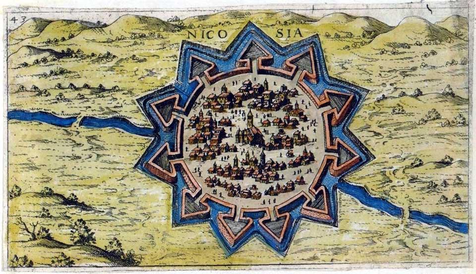 Kaart van Nicosia uit 1597 door Giacomo-Franco